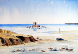 Watercolour Painting of  Martello Tower Jersey